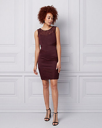 Lace & Knit Crêpe Illusion Dress