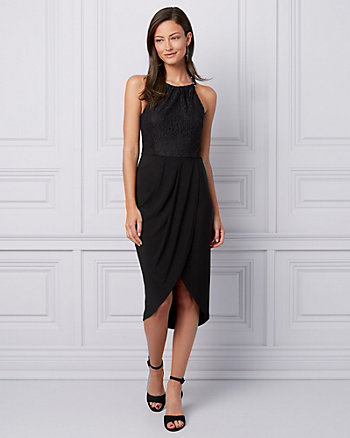 Lace & Knit High-Low Cocktail Dress