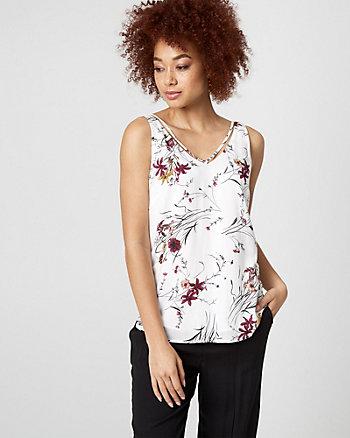 Floral Print Challis V-Neck Top
