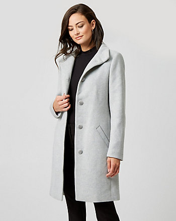 Wool Twill Funnel Collar Coat