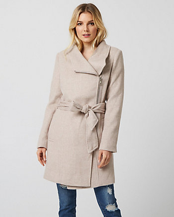 Wool Twill Convertible Coat