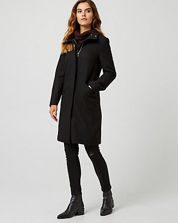 Melton Wool Blend Funnel Neck Coat