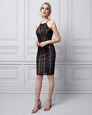 Stretch Lace Halter Dress