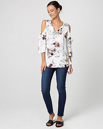 Floral Print Cold Shoulder Ruffle Blouse