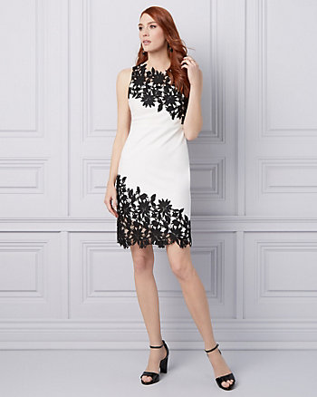 Lace & Knit Crêpe Illusion Cocktail Dress