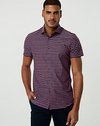 Check Print Cotton Athletic Fit Shirt