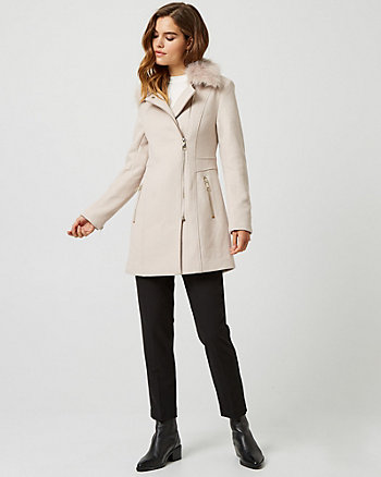 Wool Blend Fur Collar Asymmetrical Coat