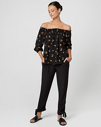 Floral Print Viscose Off-the-Shoulder Blouse