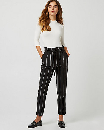 Stripe Print Paper Bag Pant