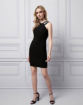 Banded Knit Halter Cocktail Dress