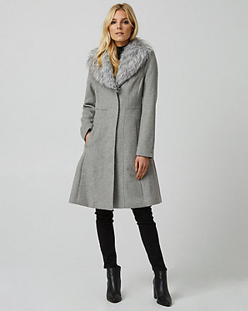 Wool Blend Faux Fur Collar Fit & Flare Coat