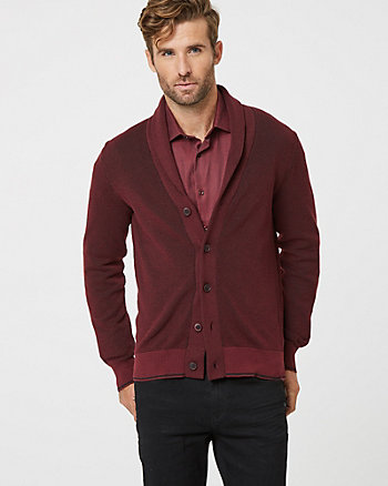 Tonal Knit Shawl Collar Cardigan