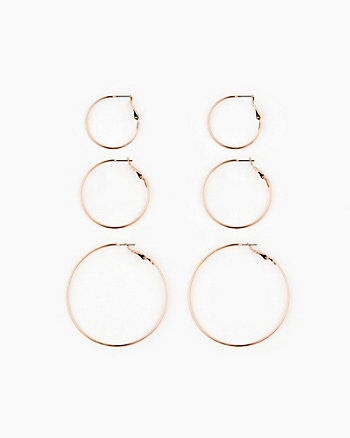 Set of Metal Hoop Earrings