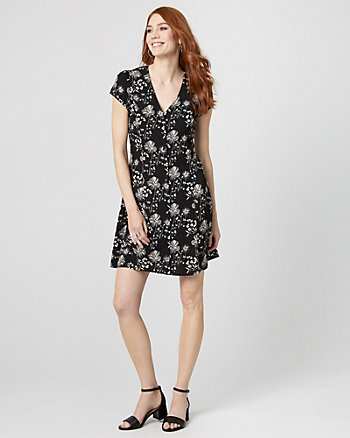 Floral Printed Crêpe de Chine Tunic Dress
