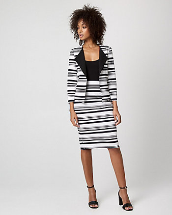 Stripe Knit Crêpe Open-Front Blazer