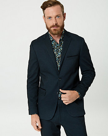 Textured Piqué Knit Contemporary Fit Blazer