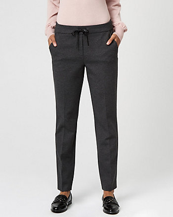 Ponte Knit Slim Leg Track Pant