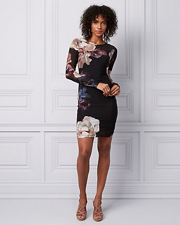 Floral Print Mesh Illusion Mini Dress
