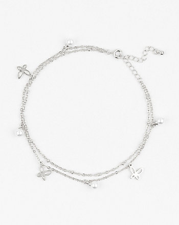 Butterfly & Pearl-Like Anklet
