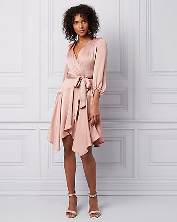 Satin Wrap-Like Dress