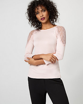 Lace & Viscose Blend Boat Neck Top
