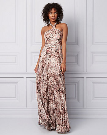 Snake Print Chiffon Halter Gown