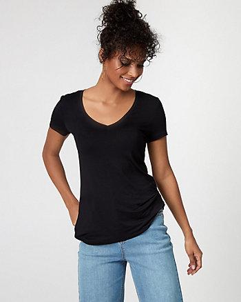 T-shirt à encolure en V en tricot