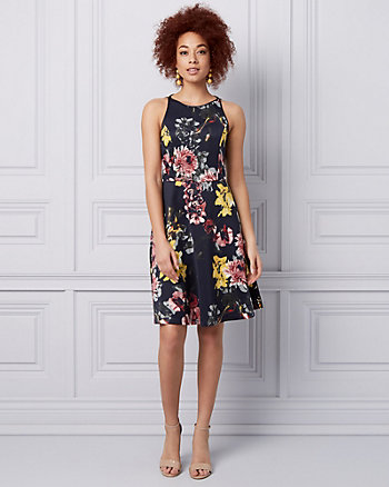 Floral Print Scuba Knit Fit & Flare Dress