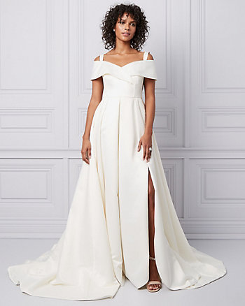 Stretch Satin Off-the-Shoulder Princess Gown