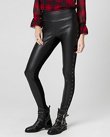 Studded Leather-Like & Knit Skinny Leg Pant