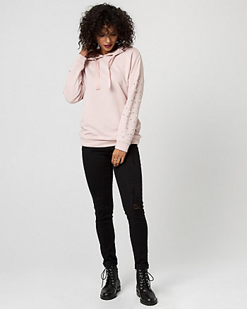 Pearl Embellished Hooded Sweatshirt