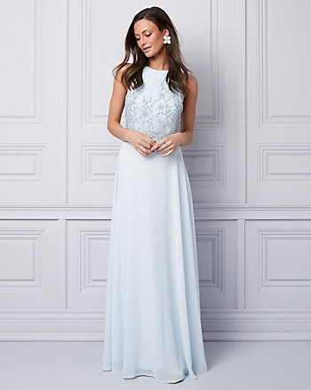 Beaded & Embroidered Chiffon Halter Gown