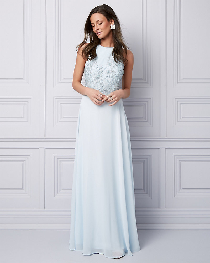 41a555ebcfd7 Beaded   Embroidered Chiffon Halter Gown