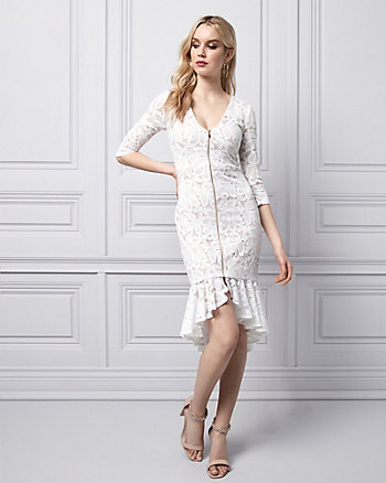 Stretch Lace V-Neck Flounce Dress