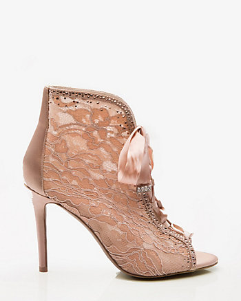Embellished Lace & Satin Peep Toe Bootie