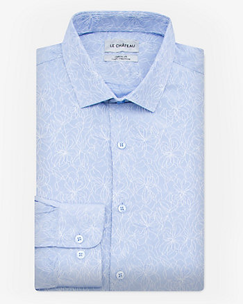 Floral Print Cotton Blend Athletic Fit Shirt