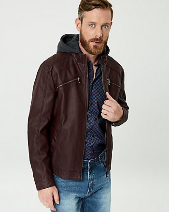 Faux Leather Hooded Motorcycle Jacket