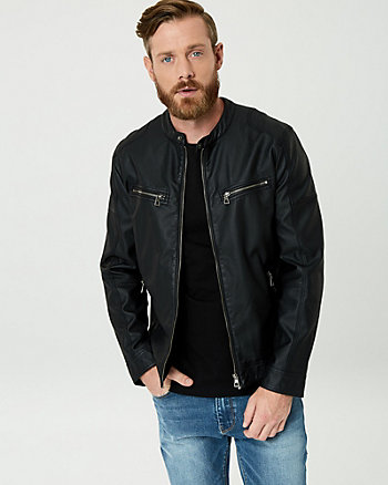 Leather-Like Mock Neck Motorcycle Jacket
