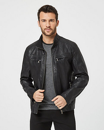 Leather-Like Aviator Coat