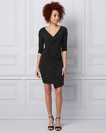 Polka Dot Print Knit Wrap-Like Mini Dress