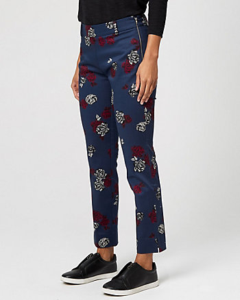 Floral Print Cotton Sateen Slim Leg Pant