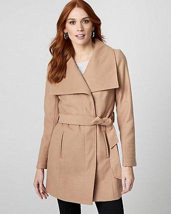 Manteau à ceinture d'aspect cachemire