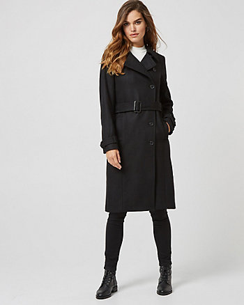 Melton Wool Blend Asymmetrical Coat