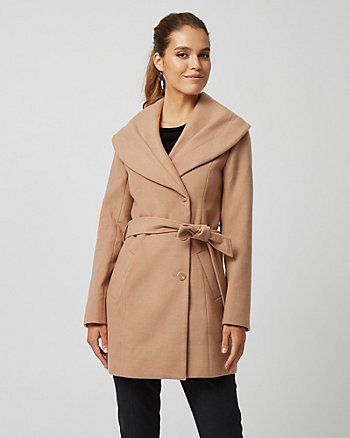 Cashmere-like Belted Hooded Coat