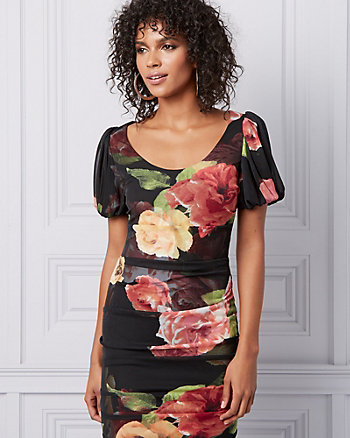 Robe fourreau à motif floral et fronces