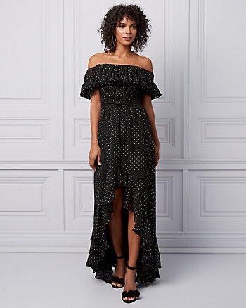 Dot Print Off-the-Shoulder Ruffle Gown