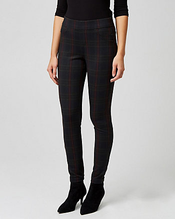 Check Print Ponte Knit Skinny Leg Pant