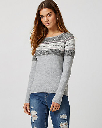 Fair Isle Knit Boat Neck Sweater