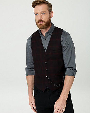 Shadow Check Print Contemporary Fit Vest