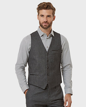 Tonal Tweed Contemporary Fit Vest